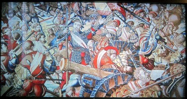 arazzo fiammingo raffigurante la battaglia di Pavia