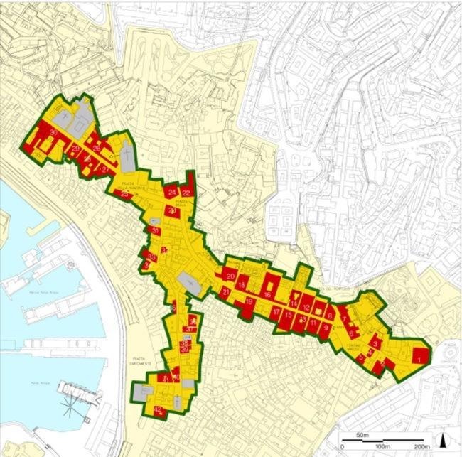 mappa della localizzazione delle strade dei Rolli