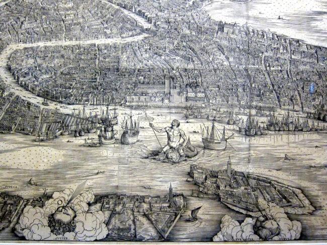 Particolare della mappa di Venezia di A.Kolb e J.De' Barbari primi '500
