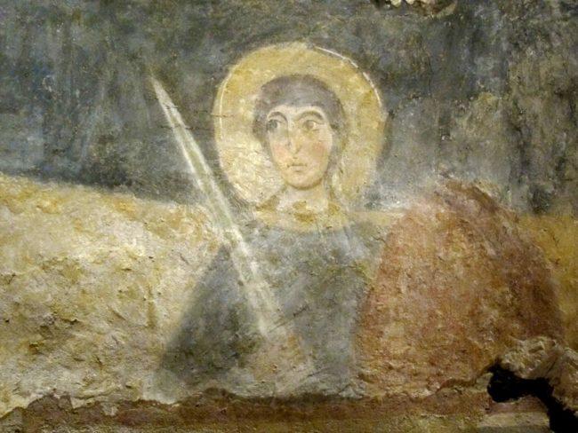 Santo con spada nella cripta S. Giovanni Domnarum a Pavia